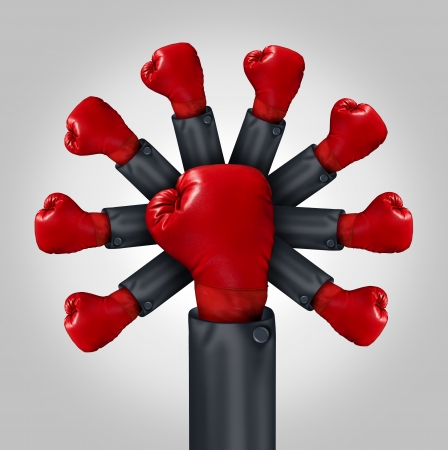 competitiveness: Increasing Competitiveness business leadership concept with the arm of a businessman wearing a red boxing glove and a group of gloves emerging from the leader as a metaphor for organized competition and team strength  Stock Photo