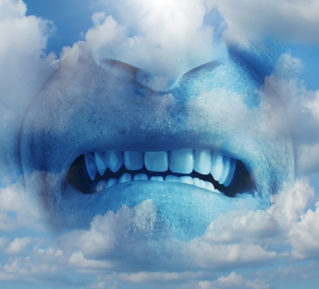 Anger rage emotion concept as a psychological symbol of mental health care suffering ang managing emotional stress  as a human face in the sky with an intense expression of  anxiety caused by depression or other factors  photo
