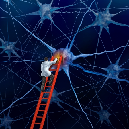 brain cells: Brain doctor on a red ladder examining the neurons of a human head trying to heal memory loss or damaged cells due to dementia and other neurological diseases as a mental health metaphor for medical research hope