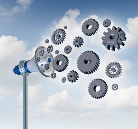 loud speaker: Business marketing and industry communication with a megaphone communicating as three dimensional gears and cog wheels are emerging from the loud speaker as a metaphor for spreading corporate data through innovative technology