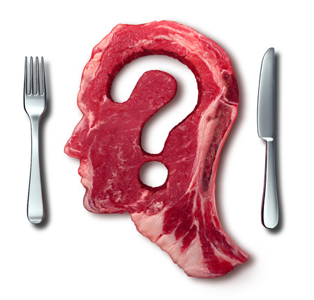 eating questions: Eating meat questions concept or diet and nutrition decisions as a red steak with a question mark cut out of the raw food with a dinner table setting with a fork and knife as a symbol of menu uncertainty