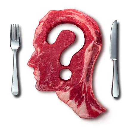 aliment: Manger de la viande des questions concept ou le régime alimentaire et les décisions en matière de nutrition comme un steak rouge avec un point d'interrogation couper de la nourriture crue, avec une table de réglage avec une fourchette et le couteau comme un symbole de menu de l'incertitude Banque d'images