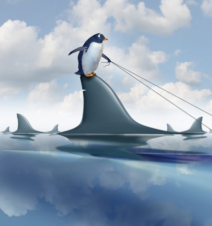 guiding: Fear Management and taking control of anxiety by overcoming limitations and controling your destiny as a brave penguin on a dangerous shark fin guiding the predator with a harness as a metaphor for confidence and leadership