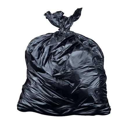 environmental issues: Garbage bag isolated on a white background as a symbol of waste management and environmental issues as a throw away black plastic sack full of  dirty smelly trash and useless junk  Stock Photo
