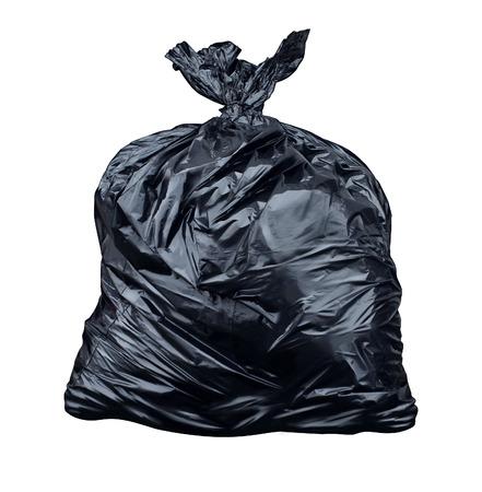 Müllsack auf einem weißen Hintergrund als Symbol der Abfallwirtschaft und Umweltfragen als Wurf schwarzen Plastiksack voller schmutziger stinkenden Müll und nutzlosen Plunder Standard-Bild - 24561947
