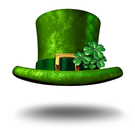 Green shamrock lucky top hat as a St Patricks day symbol and luck icon of Irish tradition celebration with magical four leaf clover decoration on a leprechaun cap floating in the air on a white background