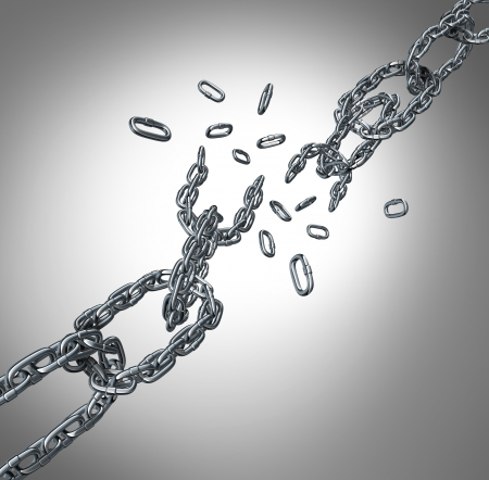 Breaking chain group as a business concept for organization stress and patnership failure as a group of metal links exploding or as a metaphor for free your mind and freedom from financial constraints  Stock Photo - 24809428
