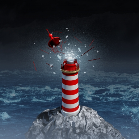 off path: Broken guidance and direction uncertainty with a broken shattered lantern beacon from a lighthouse as a metaphor for losing control resulting in misdirection and going the wrong way in life and business