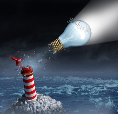 new direction: Charting your own course and taking control of  goals through strong creative leadership as a businessman on a light bulb from a lighthouse breaking out to freedom and planning a new direction for success