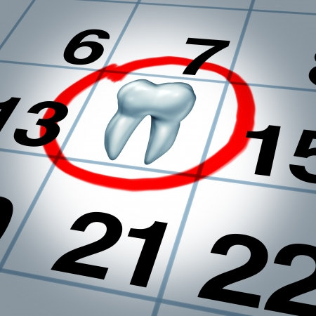 Dentist appointment and dental check up health care concept as a month calendar with a tooth circled and highlighted as a reminder metaphor for a dentist visit time at a clinic for scheduled oral care