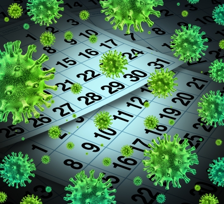 communicable: Flu season and seasonal outbreak of influenza and cold virus infection as a medical health care concept with a calendar background and three dimensional human disease cells  Stock Photo