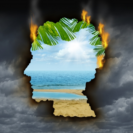 Human escape emotions and feelings concept with a dark grey storm sky burning a hole shaped as a head revealing a beautiful tropical landscape as a metaphor for brain relaxation to overcome depression stress and anxiety  Banque d'images