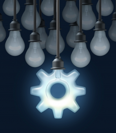 gear box: Innovation ideas as a business concept for thinking out of the box with a group of light bulbs and one light shaped as a gear or cog as a symbol of innovative creative technology success on a blck background  Stock Photo