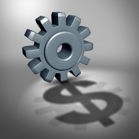 Investment potential business concept as a gear or cog wheel casting a shadow in the shape of a money sign as a financial metaphor for company profits and future wealth forecast Stock Photo - 24796883