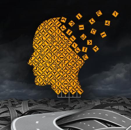 enfermedades mentales: perdiendo enfermedad cerebral orientaci�n con la p�rdida de memoria debido a la demencia y el Alzheimer Foto de archivo