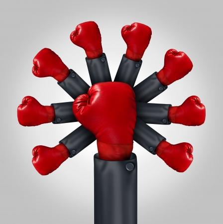 comp�titivit�: Accro�tre la comp�titivit� concept de leadership d'affaires avec le bras d'un homme d'affaires portant un gant de boxe rouge et un groupe de gants �mergents du leader comme une m�taphore de la concurrence organis�e et la force de l'�quipe