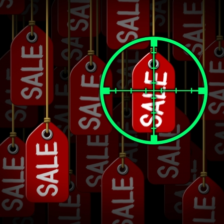 bargain: target crosshairs aiming at hanging price tags