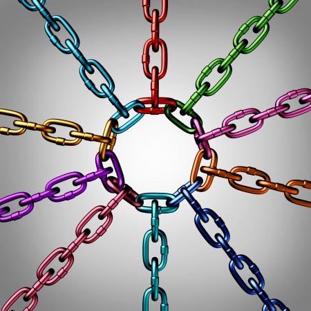 異なる色の 3 つの次元金属鎖のグループ