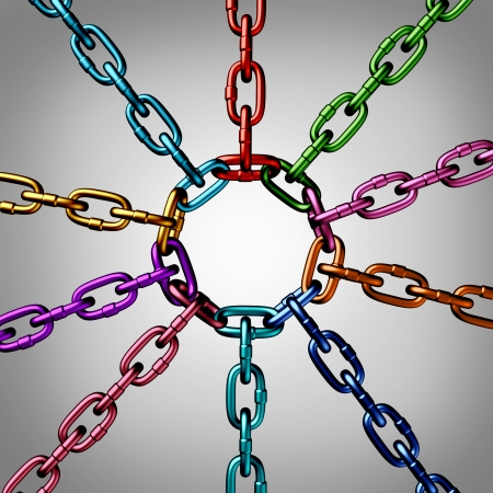 a group of three dimensional metal chains of different colors Stock fotó - 25113247