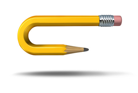 reversal: a yellow pencil adapting to changes by curving and pointing to a different goal direction Stock Photo
