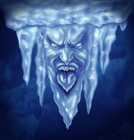 deep freeze: Congelador y extrema concepto fr�o como un grupo de car�mbanos en la forma de una intensa expresi�n humana congelada de hielo