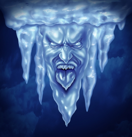 frigid: Deep freeze and extreme cold weather concept as a group of icicles in the shape of an intense frozen human expression made of ice Stock Photo