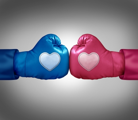 blue and pink boxing gloves with heart shaped patches photo