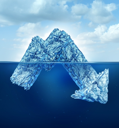 hidden danger: an iceberg shaped as a downward finance chart arrow