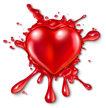 red three dimensional love and romance icon splattered on a wall with red liquid exploding and spraying out photo