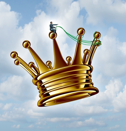 a golden flying king crown with a harness photo