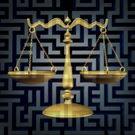 a justice scale on a three dimensional maze or labyrinth