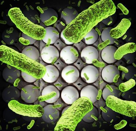 Oeufs crus dans un carton d'oeufs infectés par des bactéries dangereuses résultant de dangers pour la santé et une situation médicale Banque d'images - 25113341