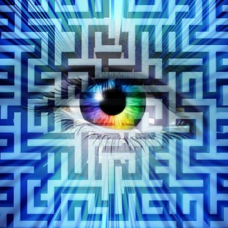 percepción: Solución visión éxito concepto de negocio con un ojo humano en un laberinto o un rompecabezas laberinto Foto de archivo