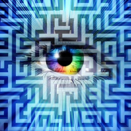 perceptions: Solution vision business success concept with a human eye on a maze or labyrinth puzzle