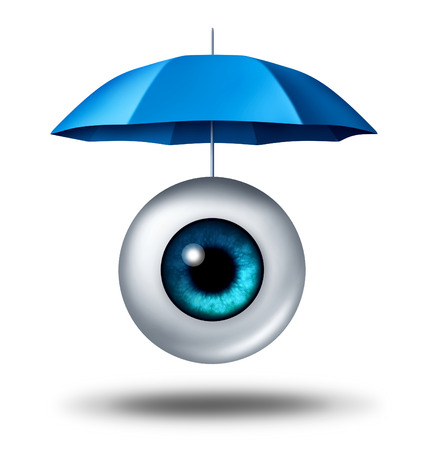 opinions: human eyeball protected by a blue umbrella