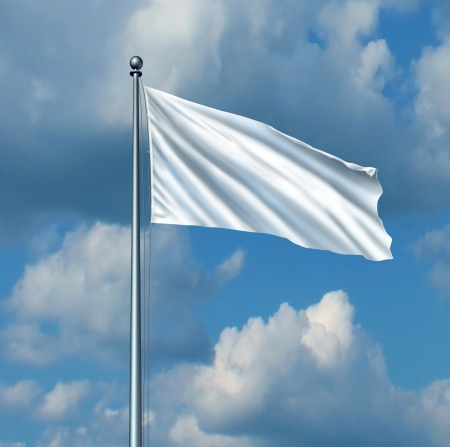 Witte vlag overgave symbool Stockfoto