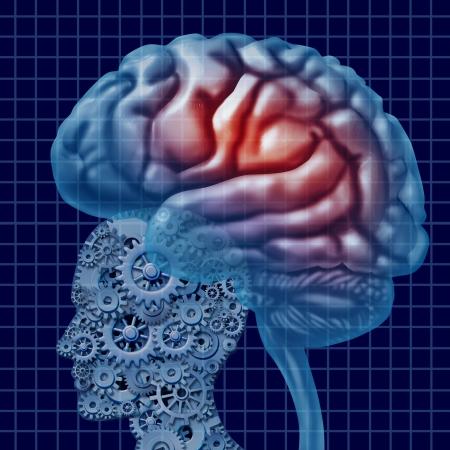 cognicion: Tecnología de inteligencia del cerebro como un concepto de salud mental con una cabeza humana hecha de engranajes y ruedas dentadas conectadas con la función de la neurona activa