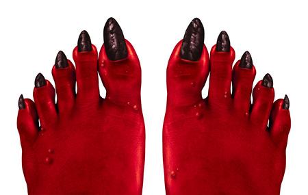 dirty feet: Devil feet and red zombie feet as a creepy Halloween