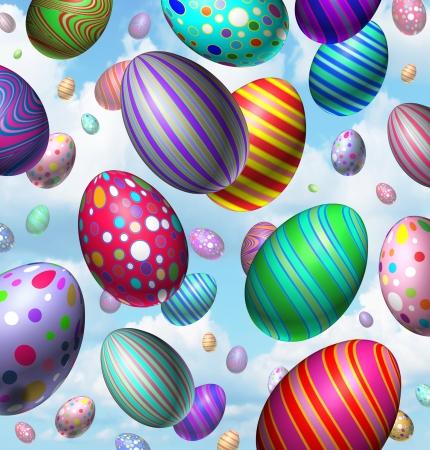 飛行中に、空から落ちて 3 次元のカラフルな活気のある卵のグループとイースターエッグお祝い背景