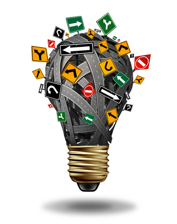 Ideas direction and creative guidance business concept with a group of roads highways  and street signs in the shape of a light bulb  Banco de Imagens