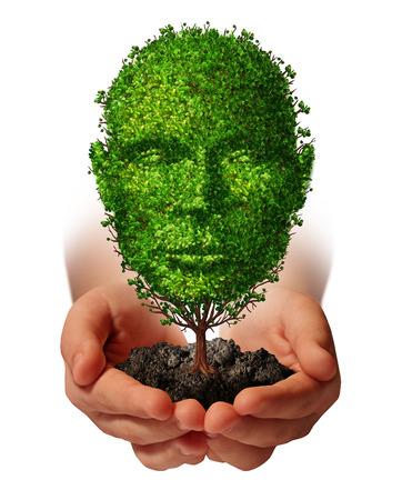 Coltiva la crescita concetto di sviluppo di vita con una mano che tiene un albero verde a forma di front testa umana vista come metafora di cura