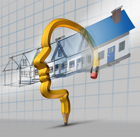 Architecture planning concept as a blueprint design of stages with home construction flowing as a dream home imagination through a pencil shaped Stock Photo - 25248660