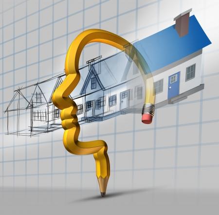 Dream Home: Architektur Planungskonzept als Blaupause Design der Stufen mit den Hausbau als Traumhaus Phantasie durch einen Bleistift geformte flie�t Lizenzfreie Bilder