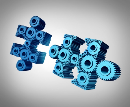 coming together: Business puzzle coming together as a success metaphor with two three dimensional jigsaw pieces made from gears and cog wheels merging and joining as a strong partnership through planned teamwork
