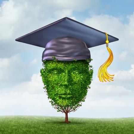 기술 학습 및 환경 연구를 통해 성장의 경력 잠재력의 상징으로 인간의 머리로 모양의 나무에 졸업 모자 또는 박격포 보드와 같은 교육의 성장 개념 스톡 콘텐츠