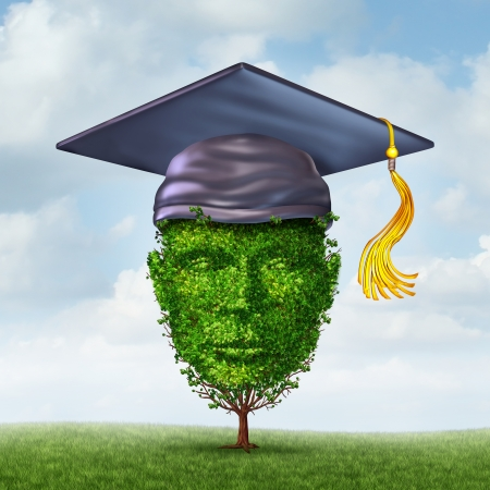 Education growth concept as a graduation cap or mortar board on a tree shaped as a human head as a symbol of growing career potential through skill learning or environmental studies  Imagens