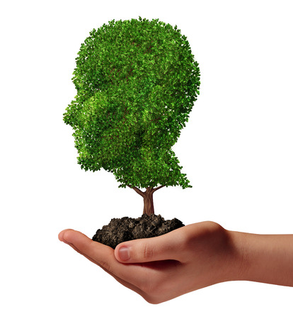 Life development concept with a hand holding a green tree shaped as a human head as a nurture metaphor and nature symbol for protection of the environment and growth potential