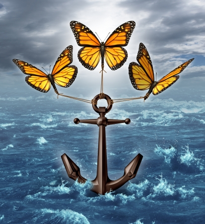 burdened: Lifting the burden business concept as a group of three monarch butterflies raising a heavy nautical anchor from a stormy ocean scene as a metaphor for liberation and unstopable freedom by working together as a team