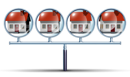 house inspection: Neighborhood watch home search and finding  houses for sale or hunting for real estate in good residemtial neighborhoods as a concept with a magnifying glass that has multiple views as a metaphore for comprehensive searching  Stock Photo