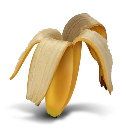 Bankrupt symbol as a business symbol of debt and overspending financial crisis as an empty banana peel as a metaphor for loss and financial streess on a white background